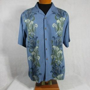 Tommy Bahama Mens Blue Graphic Button Front Silk